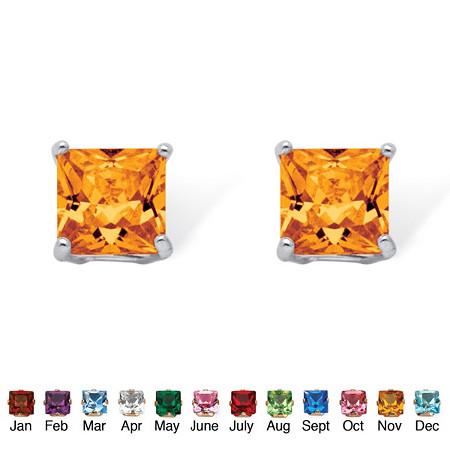 Princess-Cut Birthstone Sterling Silver Stud Earrings at PalmBeach Jewelry