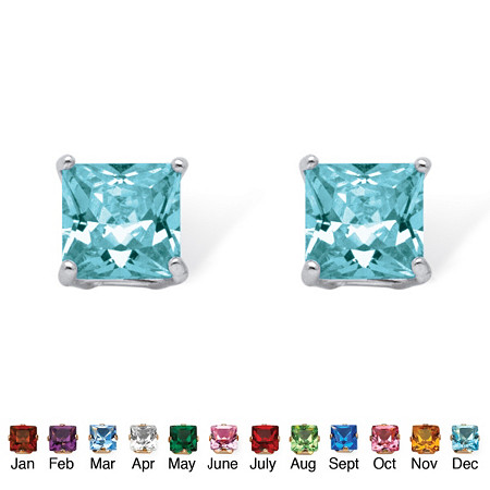 Princess-Cut Birthstone Sterling Silver Stud Earrings at PalmBeach Jewelry