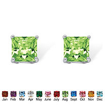 Princess-Cut Simulated Birthstone Stud Earrings in Sterling Silver