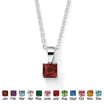 SETA JEWELRY Simulated Princess-Cut Birthstone Sterling Silver Pendant Necklace 18