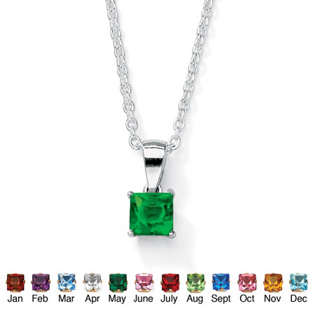Simulated Princess-Cut Birthstone Sterling Silver Pendant Necklace 18