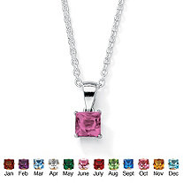 Simulated Princess-Cut Birthstone Sterling Silver Pendant Necklace 18""