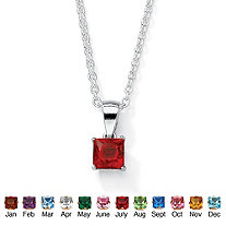 """Simulated Princess-Cut Birthstone Pendant Necklace in Sterling Silver 18"""""""