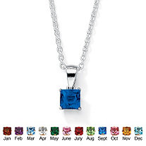 Simulated Princess-Cut Birthstone Pendant Necklace in Sterling Silver 18""