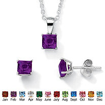 SETA JEWELRY Princess-Cut Simulated Birthstone Jewelry Set in .925 Sterling Silver