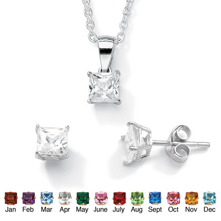 Princess-Cut Birthstone Jewelry Set in .925 Sterling Silver at PalmBeach Jewelry