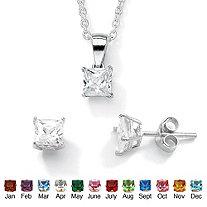 SETA JEWELRY Princess-Cut Birthstone Jewelry Set in .925 Sterling Silver