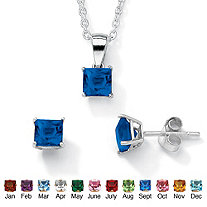 Princess-Cut Simulated Birthstone Jewelry Set in .925 Sterling Silver