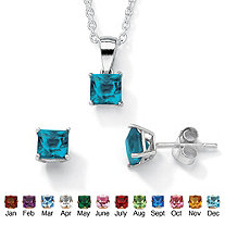 Princess-Cut Birthstone Jewelry Set in .925 Sterling Silver