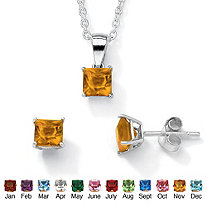 SETA JEWELRY Princess-Cut Birthstone Jewelry Set in .925 Sterling Silver