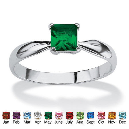 Princess-Cut Birthstone Solitaire or Stack Ring in Sterling Silver at PalmBeach Jewelry