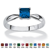 Princess-Cut Birthstone Solitaire or Stack Ring in Sterling Silver