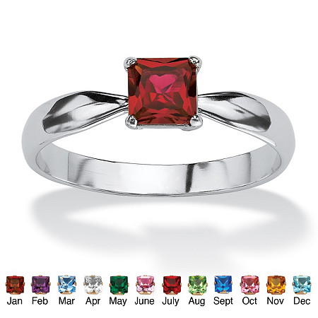 Princess-Cut Birthstone Solitaire Stack Ring in Sterling Silver at PalmBeach Jewelry