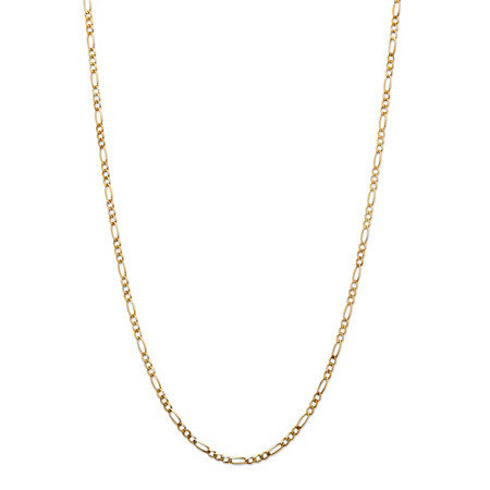 Figaro-Link Chain Necklace in 10k Yellow Gold 18