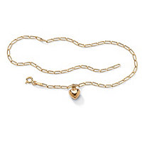 10k Yellow Gold Oblong-Link Heart Charm Bracelet 7 1/2""