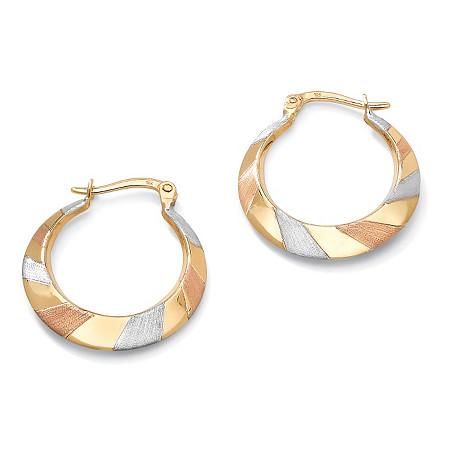 "Tri-Tone Flat Hoop Earrings in 10k Gold (1"") at PalmBeach Jewelry"