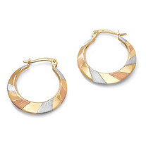 "Tri-Tone Flat Hoop Earrings in 10k Gold (1"")"