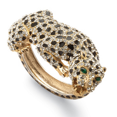 Crystal Enamel Leopard Hinged Bangle Bracelet in Yellow Gold Tone at PalmBeach Jewelry