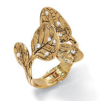 Crystal Leaf Bangle Bracelet in Yellow Gold Tone 9""