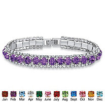 """Round Birthstone and Crystal Accent Tennis Bracelet in Silvertone 7"""""""