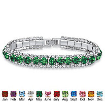 Round Simulated Birthstone and Crystal Accent Tennis Bracelet in Silvertone 7""