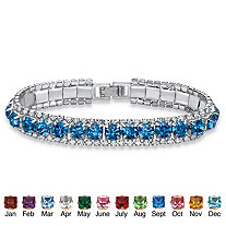 Round Birthstone and Crystal Accent Tennis Bracelet in Silvertone 7""
