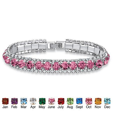 Round Birthstone Crystal Accent Silvertone Tennis Bracelet 7