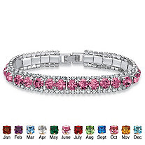 """Round Birthstone Crystal Accent Silvertone Tennis Bracelet 7"""""""