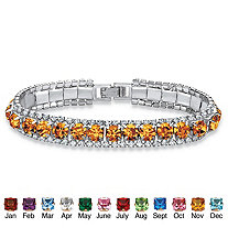 """Round Simulated Birthstone and Crystal Accent Tennis Bracelet in Silvertone 7"""""""