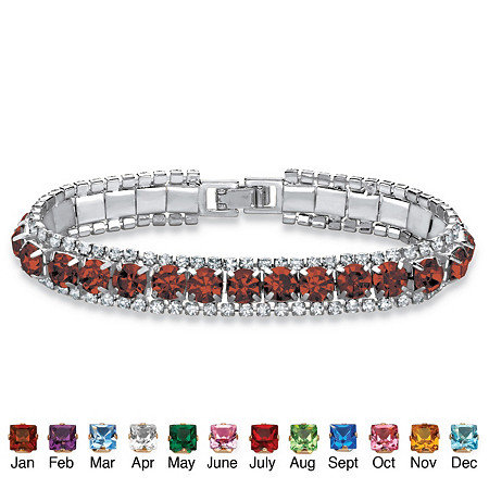 """Round Simulated Birthstone and Crystal Accent Tennis Bracelet in Silvertone 7"""" at PalmBeach Jewelry"""