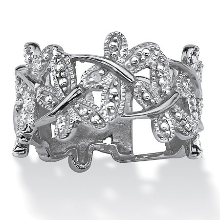 Diamond Accent Platinum-Plated Butterfly Band Ring at PalmBeach Jewelry