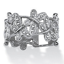 Diamond Accent Platinum-Plated Butterfly Band Ring