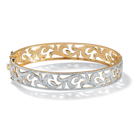 Diamond Accent 18k Gold-Plated Vine Bangle Bracelet 7 1/2