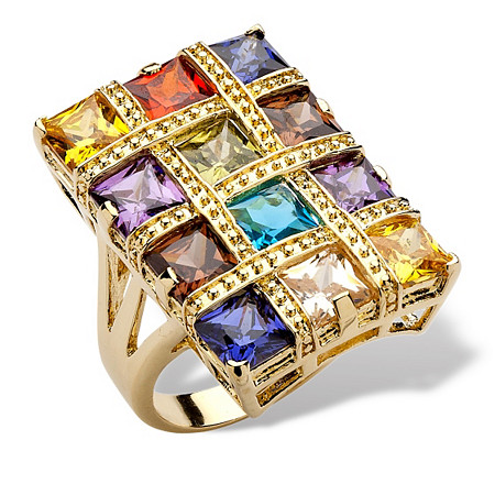 8.40 TCW Princess-Cut Multicolor Cubic Zirconia 14k Yellow Gold-Plated Ring at PalmBeach Jewelry