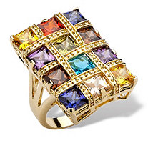 8.40 TCW Princess-Cut Multicolor Cubic Zirconia 14k Yellow Gold-Plated Ring