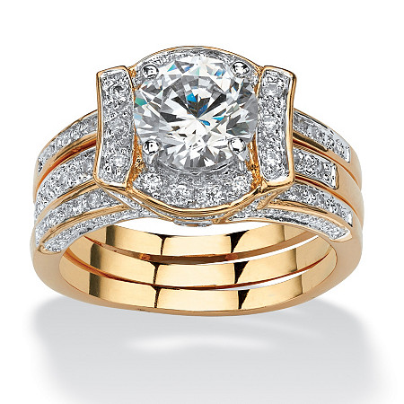 2.37 TCW Round Cubic Zirconia Channel-Set 2-Piece Jacket Bridal Set 18k Gold-Plated at PalmBeach Jewelry