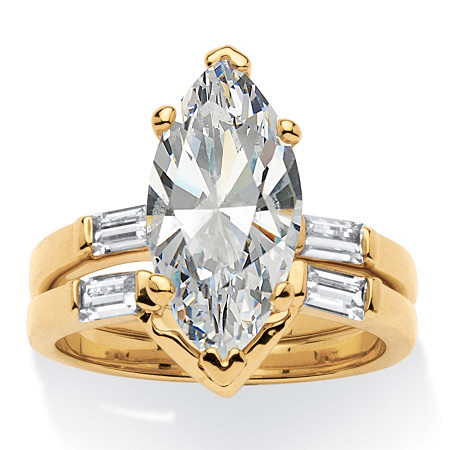 4.42 TCW Marquise-Cut Cubic Zirconia 18k Gold-Plated Bridal Engagement Ring Wedding Band Set at PalmBeach Jewelry