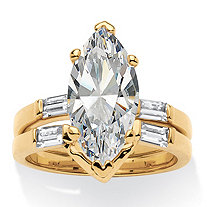 4.42 TCW Marquise-Cut Cubic Zirconia 18k Gold-Plated Bridal Engagement Ring Wedding Band Set