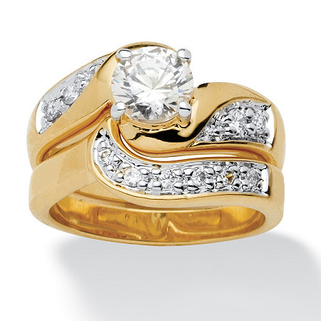 1.47 TCW Round Cubic Zirconia 14k Gold-Plated 2-Piece Swirled Bridal Ring Set at PalmBeach Jewelry