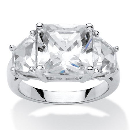 6.31 TCW Princess-Cut Cubic Zirconia 3-Stone Engagement Ring Platinum over Sterling Silver at PalmBeach Jewelry