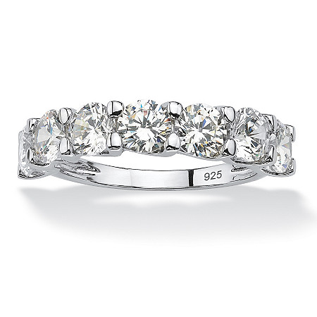 Round Cubic Zirconia Single Row Wedding Band 3.50 TCW in Platinum Over .925 Sterling Silver at PalmBeach Jewelry