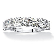 SETA JEWELRY Round Cubic Zirconia Single Row Wedding Band 3.50 TCW in Platinum Over .925 Sterling Silver