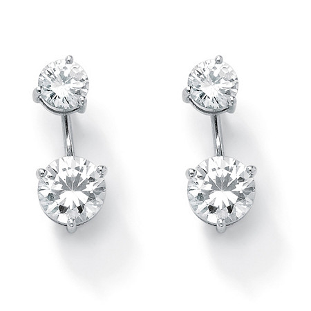 Round Cubic Zirconia 2-in-1 Stud and Drop Earrings 5.80 TCW in Platinum over Sterling Silver at PalmBeach Jewelry