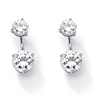 Related Item Round Cubic Zirconia 2-in-1 Stud and Drop Earrings 5.80 TCW in Platinum over Sterling Silver