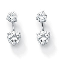 SETA JEWELRY Round Cubic Zirconia 2-in-1 Stud and Drop Earrings 5.80 TCW in Platinum over Sterling Silver