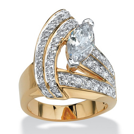 3.08 TCW Marquise-Cut Cubic Zirconia 18k Gold-Plated Wrap Ring at PalmBeach Jewelry