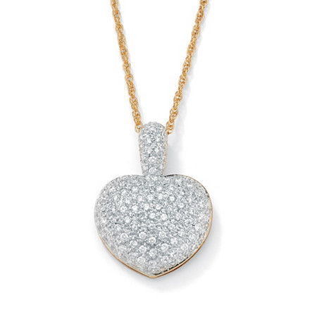 "2.50 TCW Pave-Set Cubic Zirconia 18k Gold-Plated Heart-Shaped Pendant and Chain 18"" at PalmBeach Jewelry"