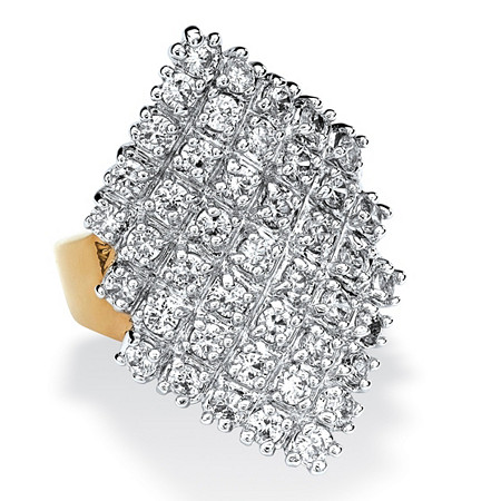 2.58 TCW Round Cubic Zirconia 14k Gold-Plated Marquise-Shaped Cocktail Ring at PalmBeach Jewelry