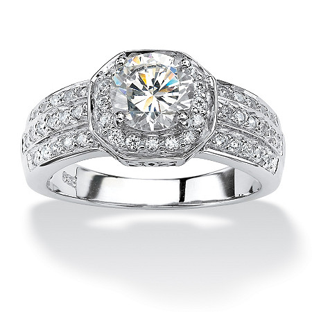 1.93 TCW Cubic Zirconia Platinum over Sterling Silver Octagon-Shaped Engagement Anniversary Ring at PalmBeach Jewelry