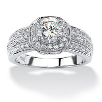 1.93 TCW Cubic Zirconia Platinum over Sterling Silver Octagon-Shaped Engagement Anniversary Ring